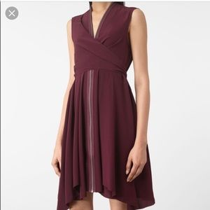 All Saints Jayda Silk dress (deep red)